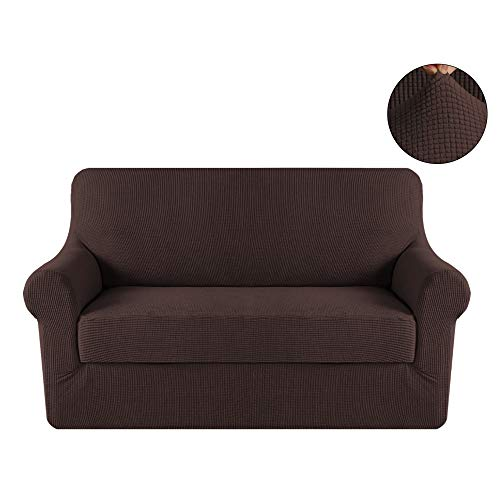 Turquoize Loveseat 2 Seater Stretch Elastic Polyester Spandex Slipcover 2 Piece with Separate Cushion Cover Jacquard (Loveseat,Chocolate) (Cushion Covers Leather)