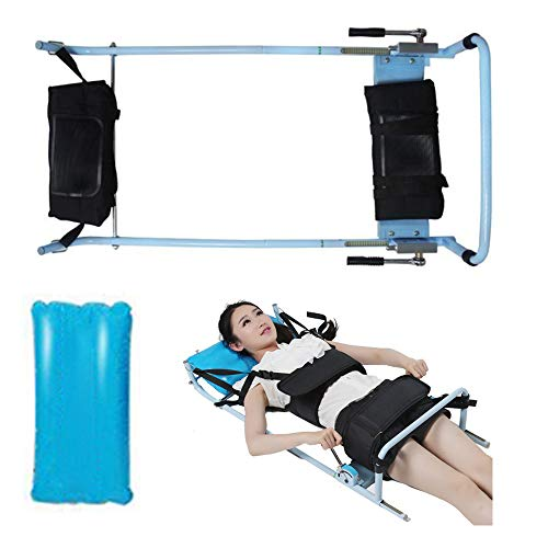 Traction Bed,Fencia Efficient Cervical Spine Lumbar Traction Bed Therapy Massage Body Stretching Device with Inflatable Pillow for Lumbago Low Back Pain/Neck Lumbar Traction