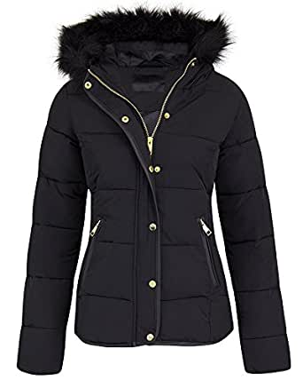 Shelikes Womens Ladies Quilted Winter Puffer Fur Collar