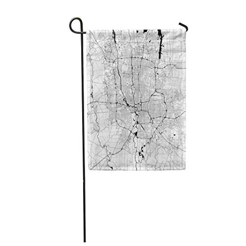 Semtomn Garden Flag 28x40 Inches Print On Two Side Polyester Columbus Monochrome Map Very Large and Detailed Outline on White Black Highways Home Yard Farm Fade Resistant Outdoor House Decor Flag -