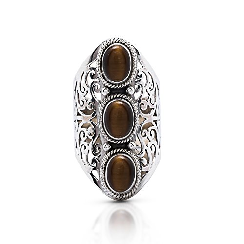 Oval Tigers Eye Cabochon Ring - Koral Jewelry Tiger Eye 3 Stones Vintage Gipsy Lace Ring 925 Sterling Silver US Size 7 8 9 10 (9)