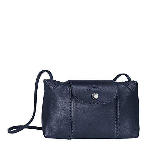 Longchamp Cross Body - Longchamp Women's Leather Le Pliage Cuir Crossbody Bag Navy Blue