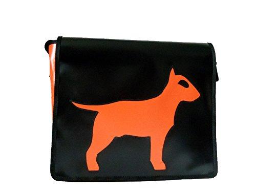 Goellerbags Umhänge-Tasche Hund Bull-Terrier Schwarz H23, B30, T10