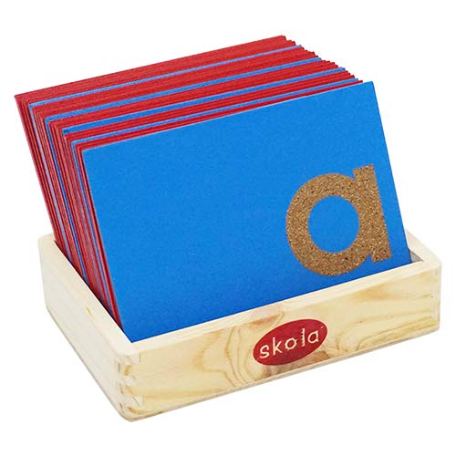 (Skola Toys - Sandpaper Letters Tracing Upper Case Capital Alphabets - Wooden Educational Language Learning Toy for 2 to 4 Year Old)