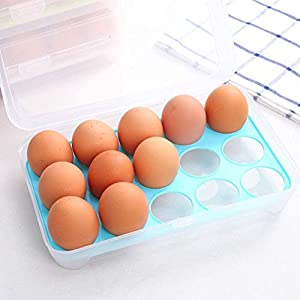 Abhsant Single-layer 15 Grid Refrigerator Egg Holder Box Storage Food Savers Space Tray with Lid Container Rack Organizer Household Kitchen Collection Gadget Supplies (2 pcs)
