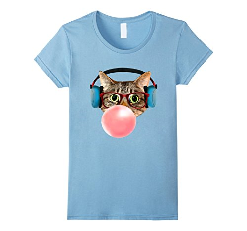 Womens Cat with Smart Glasses Headphones Pink Bubble Gum T-shirt XL Baby - Which Right For Glasses Are Me