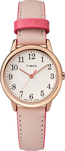 (Timex Women's TW2R62800 Easy Reader 30mm Pink/Rose Gold-Tone Leather Strap Watch)