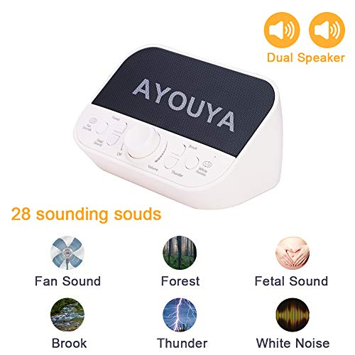 White Noise Machine,Portable Sleep Therapy Sound Machine with 28 Soothing Sounds 4 Sleeping Timer Dual Speaker Headphone Jack Adjustable Volume,Ideal for Baby Kids Adults,AC Adapter USB Cable Included