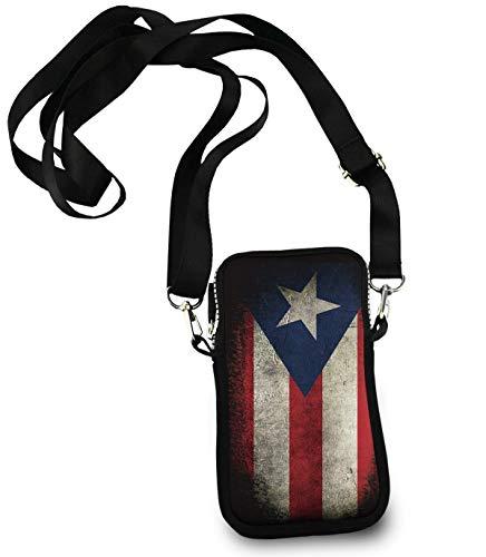 Puerto Rico Flag Vintage Small Crossbody Bag, Cell Phone Purse Smartphone Wallet with Shoulder Strap Handbag for Women