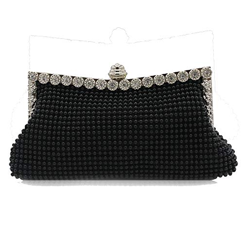Patty Both Womens Aluminum Framed Clutch Bags Satin Inner Pearl Evening Bags (black)