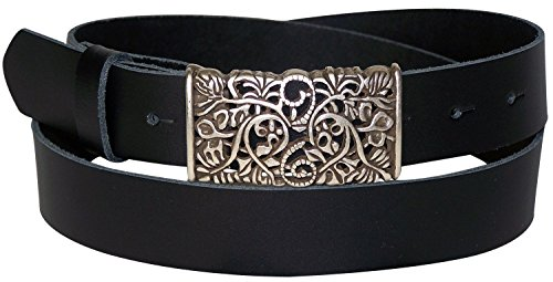 FRONHOFER Women's genuine leather belt, beautiful floral silver buckle, 1.2'/3cm, Size:waist size 50 IN XXXL EU 125 cm, Color:Black