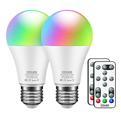 Govee RGBW LED Light Bulbs, 10W (100W Equivalent) 1000lm Color Changing Light Bulb with Remote, Dimmable Multicolor Decorative LED Bulbs for Home, Party, Warm White 2700K, Cool White 6500K (2 Pack) (Decorative Lights For Home Led)