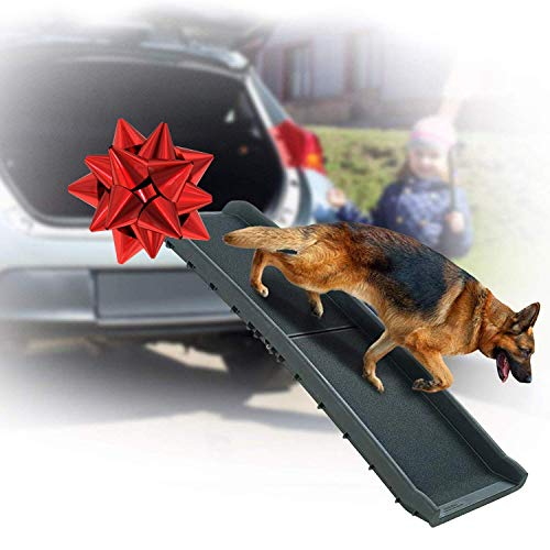 Perfect Life Ideas Dog Ramps for Large Dogs SUV – Bi Folding Pet Ramp That Supports up to 200 LBS – Indoor Outdoor Dog…