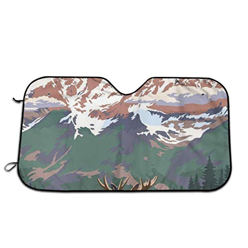 Grand Teton National Park - Moose And Mountains Car Sun Shade For Windshield With Love At First Sight Design, Foldable Auto Window Sunshade,Blocks UV Rays To Keep Your Vehicle Cool And Damage Free