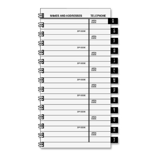 AT-A-GLANCE Tabbed Telephone, Address Refill for 70-008, 70-543, 70-064, 3.75 x 6.38 x .38 Inches (80-909-10)