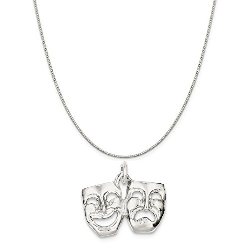 Mireval Sterling Silver Comedy/Tragedy Charm on a Sterling Silver Box Chain Necklace, 16