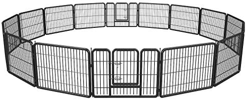 BestPet Pet Playpen Exercise Pen Dog Fence Animal Kennel Cage Yard Travel Camping Wire Metal Portable Folding Indoor Outdoor Crate for Dogs with Door 24inches 8 Panels and 16 Panels