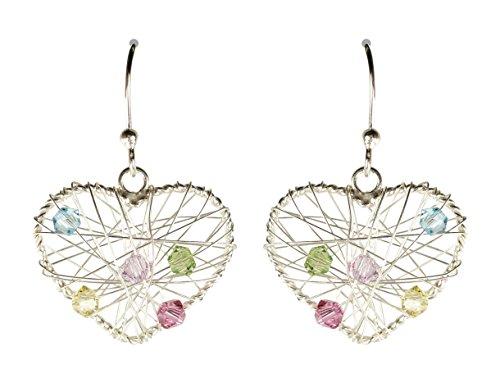Silver Dangle Wrap Wire (Bali Sky Sterling Silver Wire Wrap Beaded Heart Earrings D015)