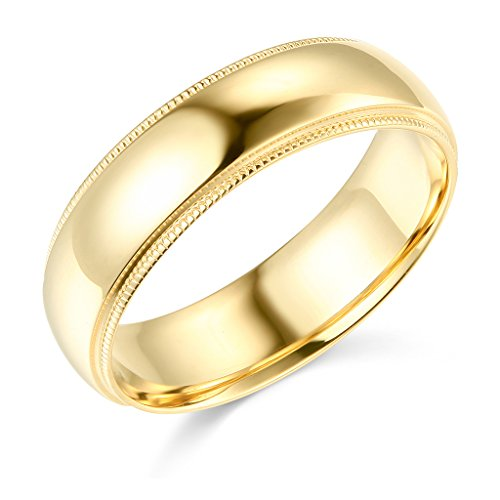 Wellingsale Mens 14k Yellow Gold Solid 6mm CLASSIC FIT Milgrain Traditional Wedding Band Ring - Size (Yellow Gold Milgrain Ring)