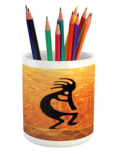 - Lunarable Kokopelli Pencil Pen Holder, Kokopelli Southwestern Style Native American Eastern Ancient Belief Picture Art, Printed Ceramic Pencil Pen Holder for Desk Office Accessory, Orange Black