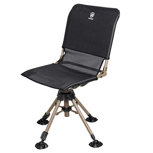 EVER ADVANCED Folding Rotating Blind Hunting Chair, 360 Degree Swivel with 225LBS Weight (Portable Shooting Chair)