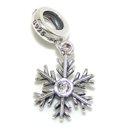 """Pro Jewelry .925 Sterling Silver Dangling """"Crystal Center Snowflake"""" Charm Bead for Snake Chain Charm Bracelet"""