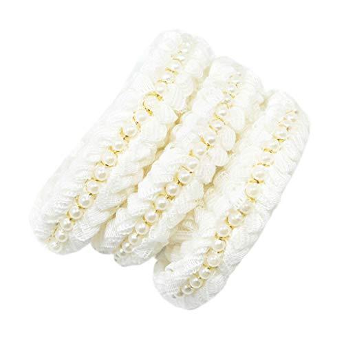 (2 Yards Handmade Pearl Beaded Woolen Yarn Ribbon Lace Trim Embellishments (Size - 1.7cm)