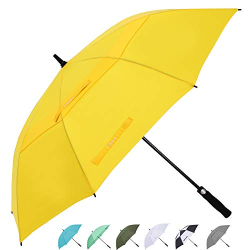 ZEKAR 54/62/68 Inch Windproof Large Golf Umbrella, Oversized Double Canopy Vented Waterproof Stick Umbrellas Automatic Open for Men Women, Including Wooden Handle Version