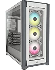 Corsair iCUE 5000X RGB Orta Boy Tower-ATX-PC Akıllı Kasa Sertleştirilmiş Camlı (Dört Panel Sertleştirilmiş Camdan RapidRoute Kablo Kılavuzu Sistemi, Üç İçinde 120 mm RGB Fan) Beyaz