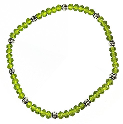 Stretch Bead Ankle Bracelet Anklet - Lime Green (A118)