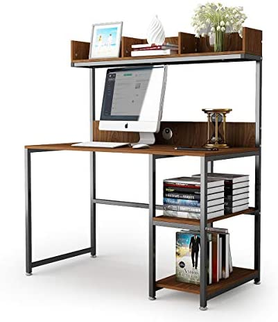 Computer Desk with Storage Shelf 47 Office Desk with Hutch Gaming Desk Home Office Desk Writing Study Table Workstation with Bookshelf Space Saving for Small Space
