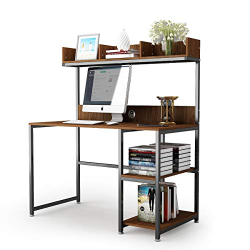 Computer Desk 47 Office Desk with Hutch Gaming Table Writing Study Table Workstation with Storage Bookshelf for Home Office