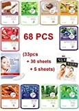 68pcs Natureby Korean Essence Facial Sheet mask Moisture Eye Mask Nose Pack Set