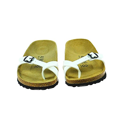 Mandel Damen Sandale Leder Weiß