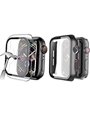 HEYUS [2 Pack] Tempered Glass Screen Case 44mm for Apple Watch Series 6/SE/5/4 , Full Coverage Tempered Glass Screen Protector Protection All-Around Surround Overall Case Cover for iWatch Series 6/5/4 (Black+Transparent)