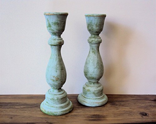- Pair of Distressed Wood Candlesticks - Shabby Gypsy Bohemian Decor - Rustic Blue/Green Candle Holders (Set of 2) - 6 3/4
