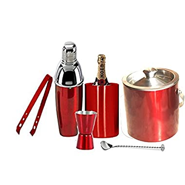 Om Creation Stainless Steel Losange Bar Set Set of 6 pcs Jigger,Tong,Wine cooler,Ice Bucket,Cocktail Shaker,spoon (RED)