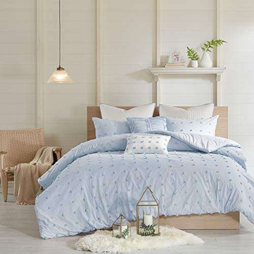Urban Habitat Brooklyn Duvet Cover Reversible Solid 100% Jacquard Weave Small Cotton Tuft Dots Texture Pleated Pillow Quilted Euro-Sham Soft All Season Bedding-Set, Twin/TXL Size, Blue (Brooklyn Light Set)