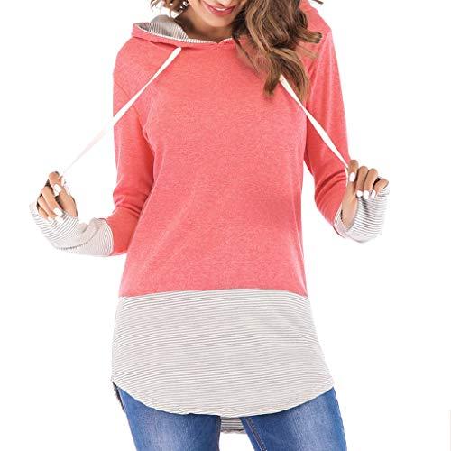 Dainzuy Women Hoodies-Tops Striped Printed Long Sleeve Drawstring Sweatshirt Patchwork Pullover Pink