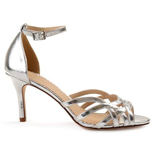Brinley Co. Womens Merika Faux Leather Ankle Strap Metallic Heels Silver, 9 Regular US