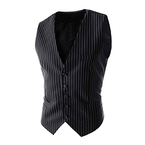 Shineweb Men's Formal Pinstripe Slim Suit Vest Waistcoat]()