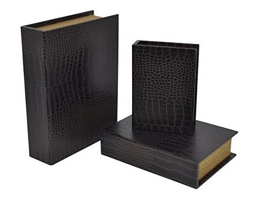 Three Hands 34383 Silver Wood Book Box44; Set of 3