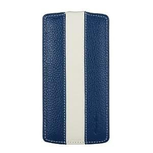 Melkco - Premium Leather Case for Google Nexus 5 - Jacka Type - (Dark Blue/White) - LGNEX5LCJM1DBWELC
