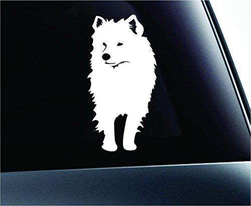 American Eskimo Dog Symbol Decal Funny Car Truck Sticker Window (White) -