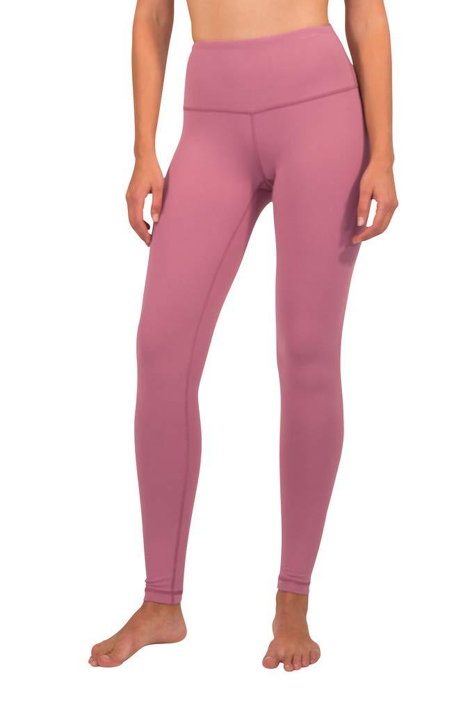 90 Degree By Reflex - High Waist Power Flex Legging - Tummy Control - English Rose - Medium by 90 Degree By Reflex