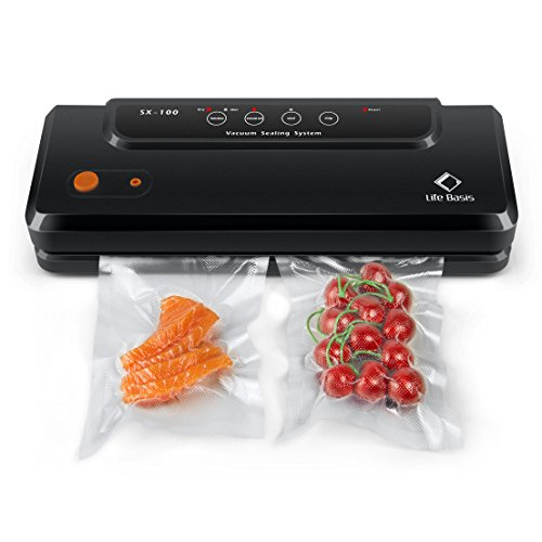 Vacuum Sealer Machine-Life Basis Food Saver Automatic Vacuum Sealing System for Dry or Moist Food Preservation with 20pcs Professional Vacuum Bags and Air Suction Hose