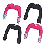 ScratchMeNot Flip Mitten Sleeves | Organic Bamboo Stay On Scratch Mitts - 12 Month Solid Black + Pink 4-Pack Bundle