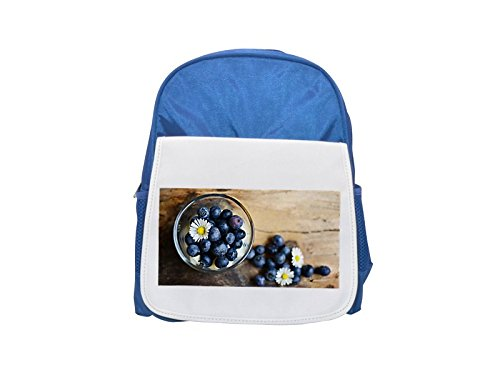 Blueberries, Dessert, Daisy, Fruit printed kid's blue backpack, Cute backpacks, cute small backpacks, cute black backpack, cool black backpack, fashion backpacks, large fashion backpacks, black fashio