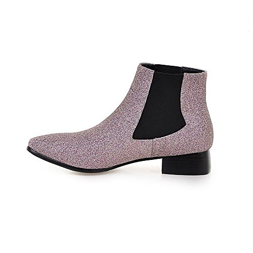 Low Pointed Boots Sequins AmoonyFashion Heels top Women's Low Toe Pink Closed Solid Ianqvxp