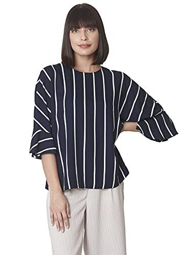 VERO MODA Women Striped Dark Blue Casual Top